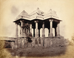 Chhatri and paliyas (memorial stones), Than, Kathiawar
